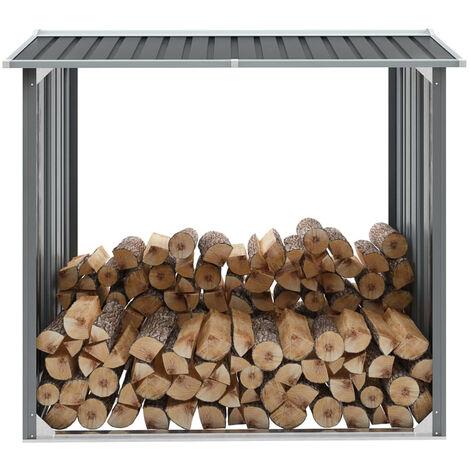 Brennholzlager Verzinkter Stahl 172 x 91 x 154 cm Grau