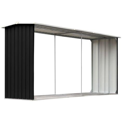 Brennholzlager Verzinkter Stahl 330 x 92 x 153 cm Anthrazit