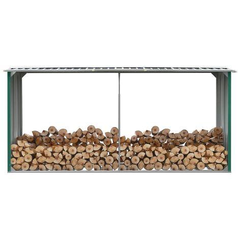 Brennholzlager Verzinkter Stahl 330 x 92 x 153 cm Grun