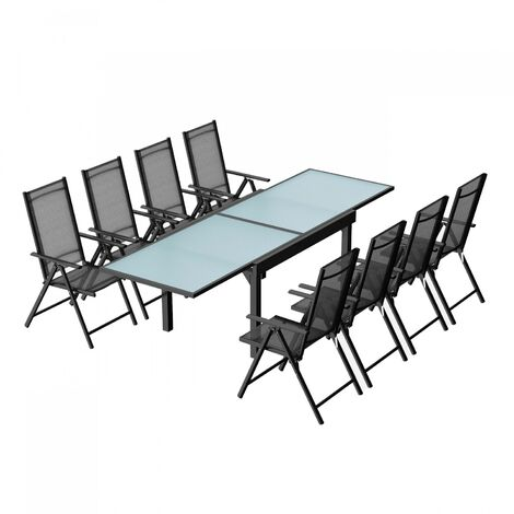 Brescia 8 : Ensemble de jardin en aluminium table extensible + 8 chaises en textilène
