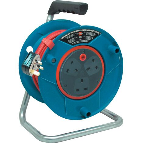 Bretec 3-way Socket Cable Reel Drum with Integrated Anti Cable Twist System - 240v