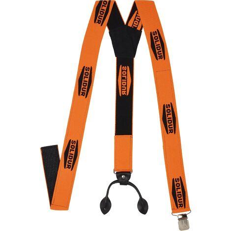 Bretelles Solidur orange pour pantalon de travail avec boutons - Orange