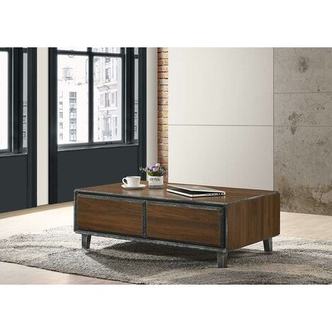 """main image of """"Bretton Walnut Living Room Coffee Table 2 Drawers open Storage Space"""""""
