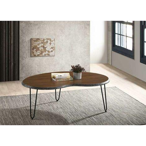 Bretton Walnut Living Room Coffee Table Large Modern Metal Legs