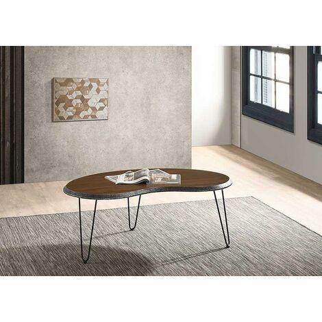 Bretton Walnut Living Room Coffee Table Small Modern Metal Legs