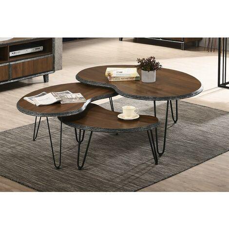 Bretton Walnut Living Room Nest of 3 Coffee Tables Modern Metal Legs