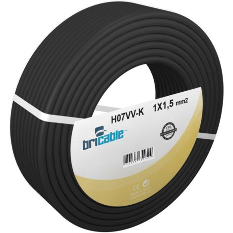 Bricable Hilo Línea Flexible Rígido PVC H07V-K 1X1,5 Negro 100m
