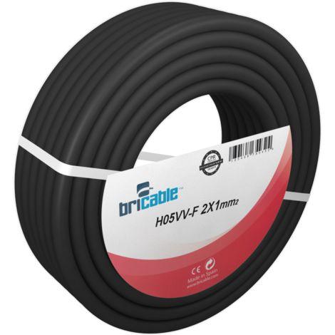 Negro Cable H05VV-F Manguera 2x1mm 100m