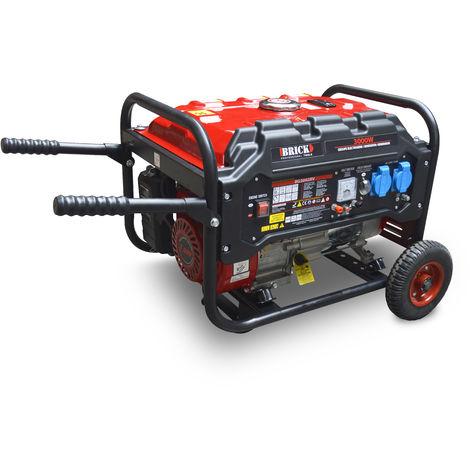 BRICK BG3002RV - Generador de corriente/grupo electrógeno 3000W con AVR, equipado con ruedas y asas para el transporte