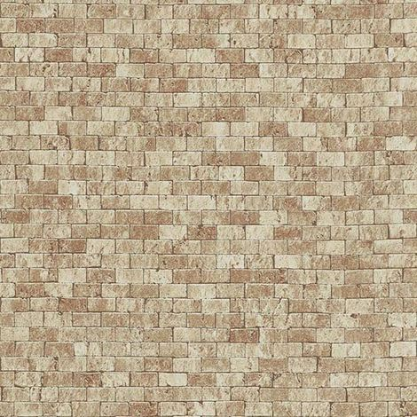 Brick Effect Wallpaper Embossed Textured Realistic Stone Slate Beige Erismann