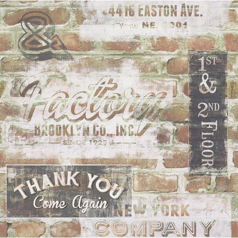 Brick Effect Wallpaper New York Rustic Weathered Typography Vintage Brown Black