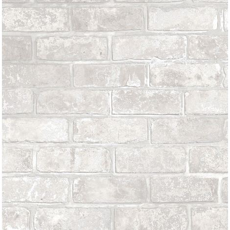 Brick Effect Wallpaper Slate Stone Rustic Metallic Silver Grey White Fine Decor