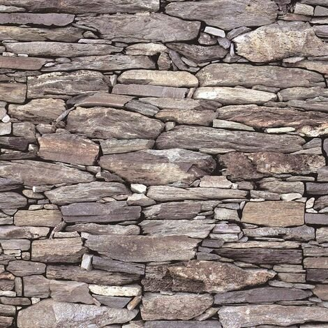 Brick Effect Wallpaper Slate Stone Rustic Weathered Realistic 3D Beige Debona