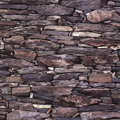 Brick Effect Wallpaper Slate Stone Rustic Weathered Realistic 3D Charcoal Debona - 1281