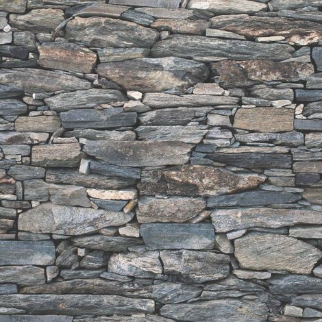 Brick Effect Wallpaper Slate Stone Rustic Weathered Realistic 3D Charcoal Debona
