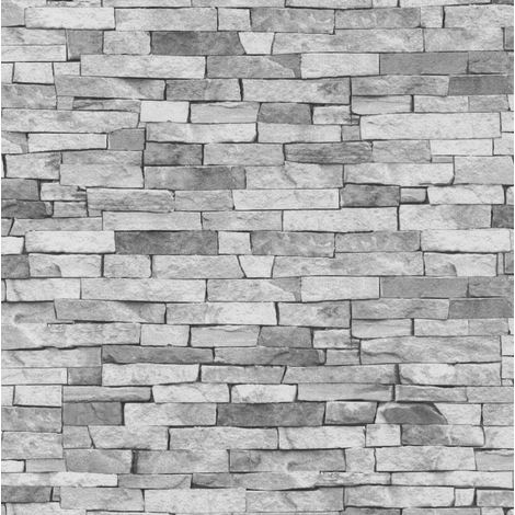 Brick Effect Wallpaper Stone Slate 3D Realistic Weathered Light Grey P+S