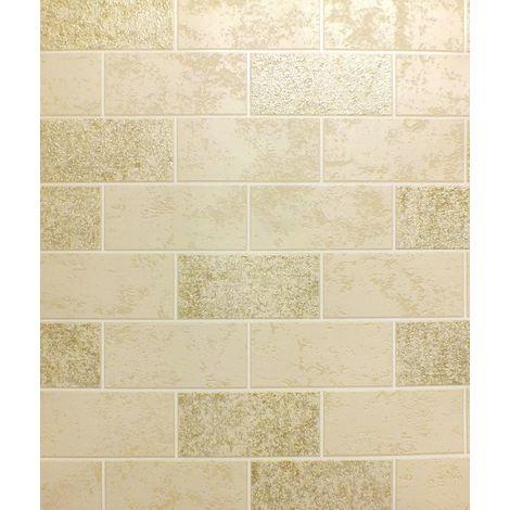 Brick Effect Wallpaper Tile Glitter Luxury Washable Vinyl Beige White Gold