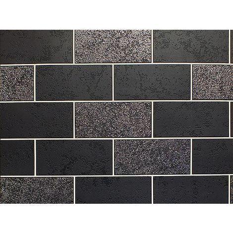 Brick Effect Wallpaper Tile Glitter Luxury Washable Vinyl Black White Grey