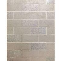 Brick Effect Wallpaper Tile Glitter Luxury Washable Vinyl Grey White