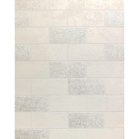 Brick Effect Wallpaper Tile Glitter Luxury Washable Vinyl White Silver