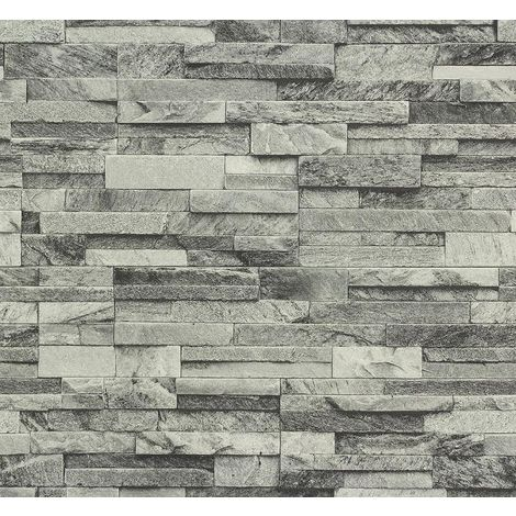 Brick Effect Wallpaper Vinyl 3D Slate Stone Split Face Tile 2 Colours P+S