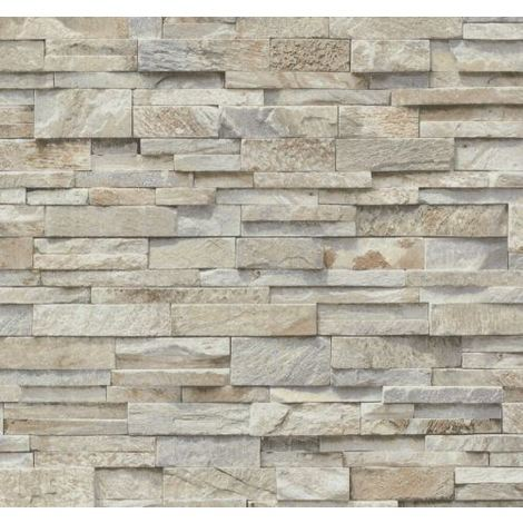 Brick Effect Wallpaper Vinyl 3D Slate Stone Split Face Tile Paste The Wall P+S