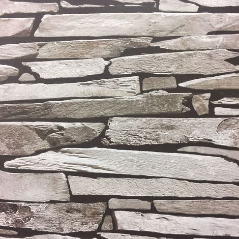 Brick Stone Tile Slate Wallpaper Grey Natural Realistic Faux Photo Debona