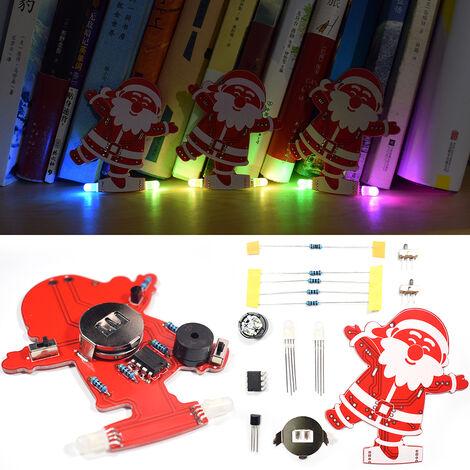 Bricolage Pere Noel Decoration De Noel Ornement Musique Kit Avec Led Colores Modes Et Chants De Noel, 5 Ensembles