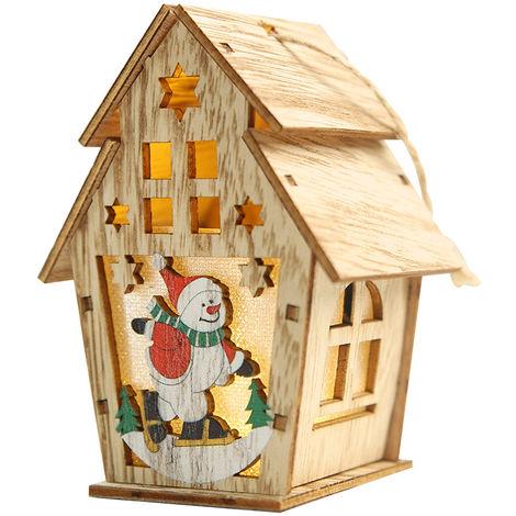 Bricolaje caba?a luminosa, igl¨² de Navidad, caba?a de madera de color claro, L