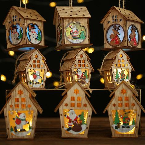 Bricolaje caba?a luminosa, igl¨² de Navidad, caba?a de madera de color claro, S