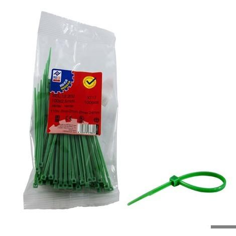 Brida Nylon Verde B/100 2.5X100 Mm - NEOFERR - Pt0077