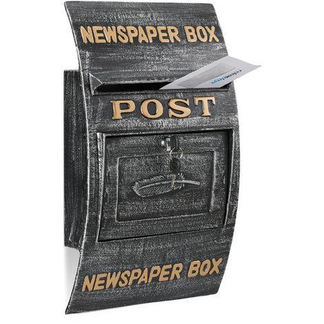 Briefkasten Antik, Schriftzug Newspaper Box, großer Wandbriefkasten, HxBxT: 49 x 29 x 9 cm, schwarz-silber