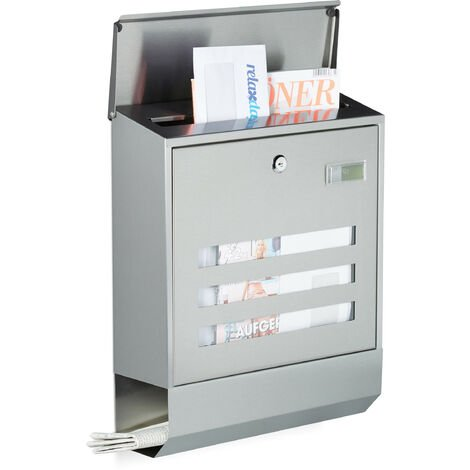 Briefkasten Edelstahl mit Zeitungsfach, Namensschild, HxBxT: 42 x 35 x 12,5 cm, Postkasten, Design, silber