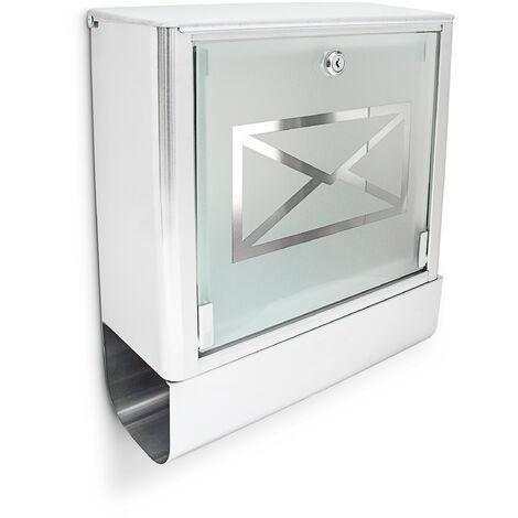 Briefkasten mit Zeitungsfach, Postkasten aus Edelstahl und Glas, Mit Motiv, HBT: ca. 40 x 35 x 14 cm, silber / grau