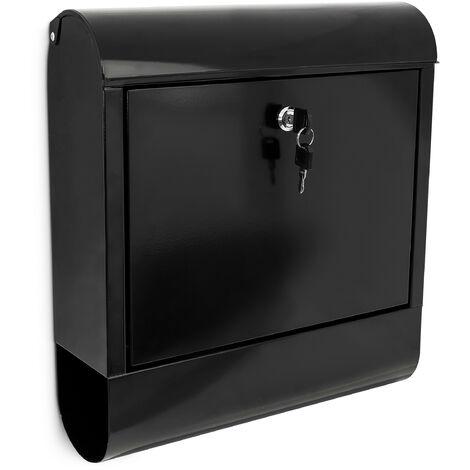 Briefkasten mit Zeitungsfach, Postkasten aus Eisen, Abschließbar, HBT: ca. 41,5 x 38 x 12 cm, schwarz