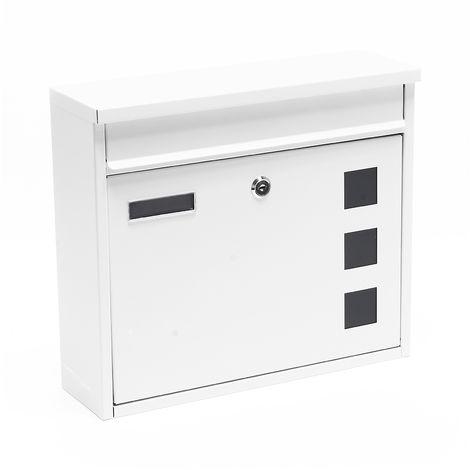 Briefkasten Postkasten Design Weiß pulverbeschichtet Wandbriefkasten Mailbox V12