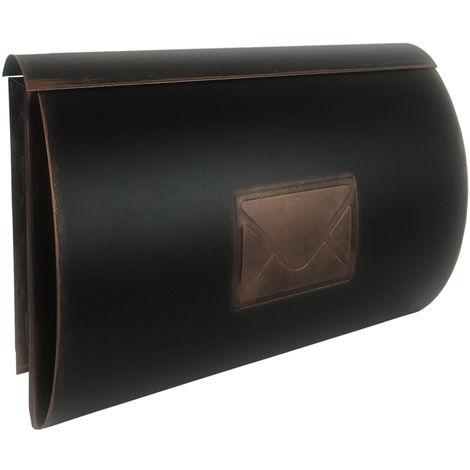 Briefkasten Schultasche mit Zeitungsfach Front Kupfer Tür rechts-M3891-tür-rechts
