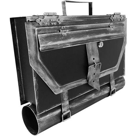 Briefkasten Schultasche mit Zeitungsrolle eckig Silber-D3872-Silber