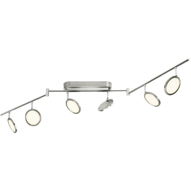 BRILLIANT PLUTO LED Deckenstrahler 150 cm Metall / Kunststoff Eisen / weiß 6-Flammig, G30506/13