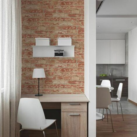 BRIQUES ROUGES - Papier peint adhésif repositionnable et réutilisable motifs briques rouges 5x0,50m - Rouge