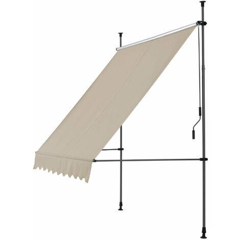 Brise-soleil métal et polyester hauteur variable 150 x 120 x 200-300 cm sable - Métal