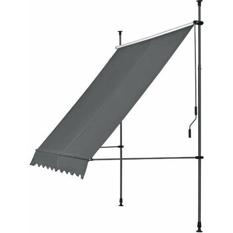 Brise-soleil prise-soleil métal et polyester hauteur variable gris 300 x 120 x 200-300 cm - Gris