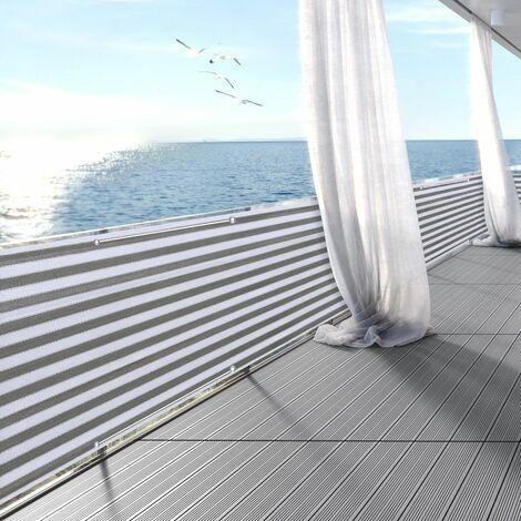 Brise Vue Balcon Jardin Terrasse HDPE 3 m x 0,9 m, Blanc Gris à Rayures