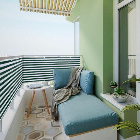 Brise Vue Balcon Jardin Terrasse HDPE 6 m x 0,9 m, Blanc Vert à Rayures