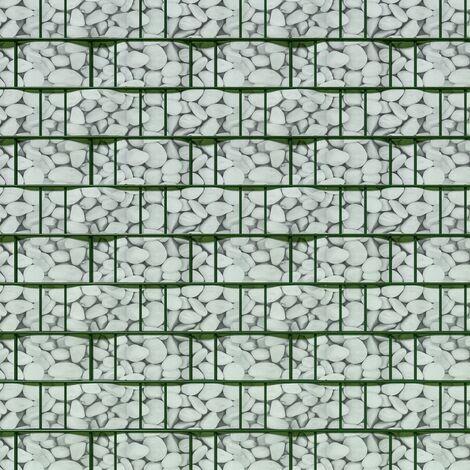 Brise vue brise vent film anti regards clôture paravent PVC imprimé galets 35 m blanc - Blanc