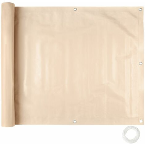 Brise vue brise vent film anti regards clôture paravent PVC pour balcon crème 75 cm - Crème