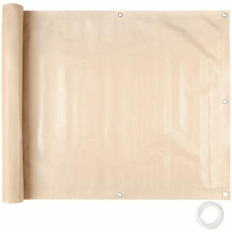 Brise vue brise vent film anti regards clôture paravent PVC pour balcon crème 75 cm - Noir