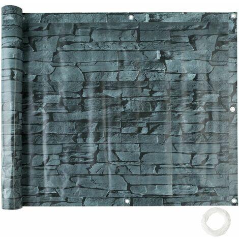 Brise vue brise vent film anti regards clôture paravent PVC pour balcon imprimé ardoise 75 cm - Noir