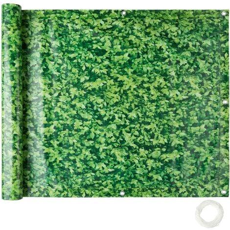 Brise vue brise vent film anti regards clôture paravent PVC pour balcon imprimé buis 90 cm