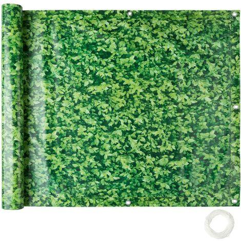 Brise vue brise vent film anti regards clôture paravent PVC pour balcon imprimé buis 90 cm - Noir